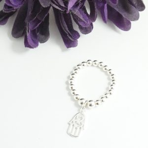 Sterling Silver Stretch Ring with Hamsa Hand Charm