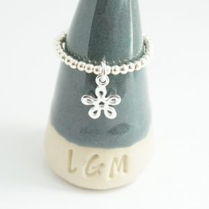 Sterling Silver Stretch Ring with Flower Charm