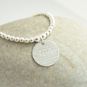 Sterling Silver Stretch Bracelet with Mother Disc