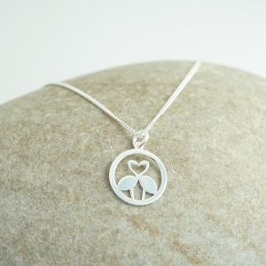 Sterling Silver Necklace with Flamingo Heart Charm