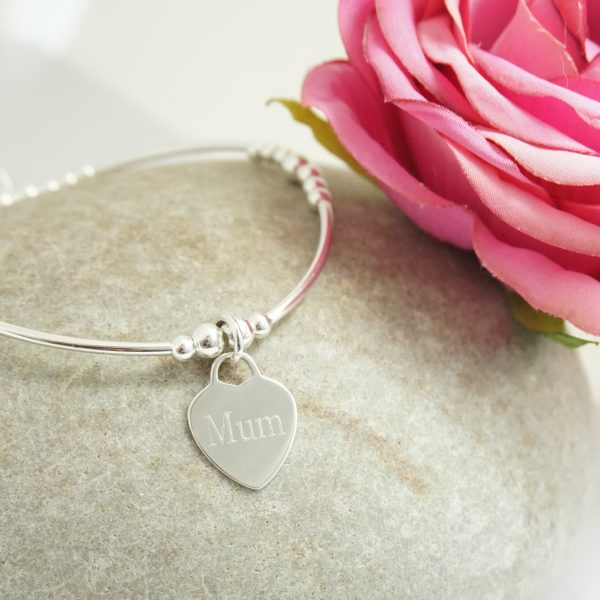 Sterling Silver Stretch Noodle Bracelet with Mum Engraved Heart Charm