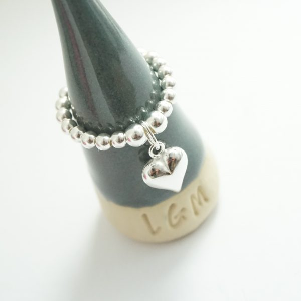 Sterling Silver Stretch Ring with Medium Heart Charm