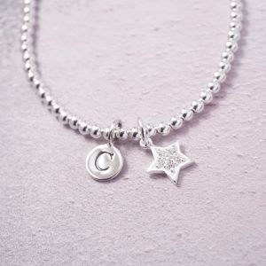sterling silver initial and star bracelet