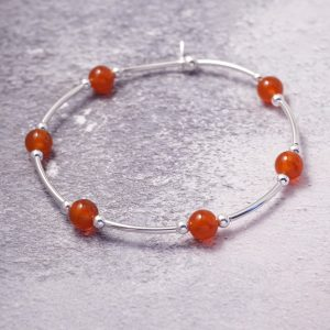 sterling silver and carnelian noodle bracelet