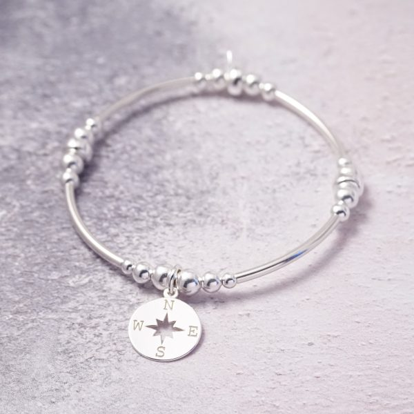 sterling silver compass noodle bracelet