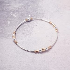 sterling silver and rose gold noodle bracelet