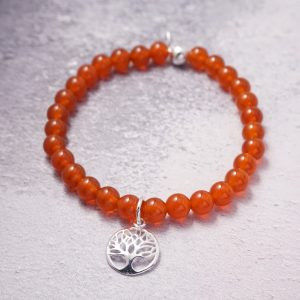 sterling silver carnelian tree of life bracelet