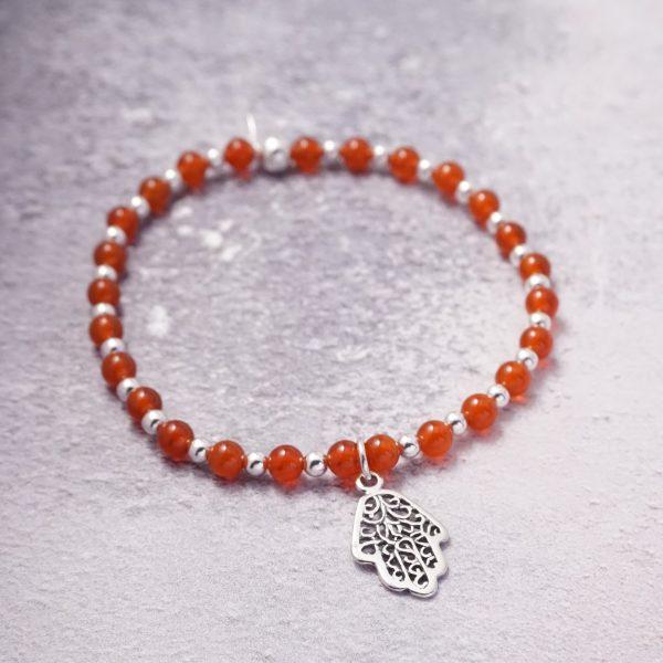 sterling silver carnelian hamsa hand bracelet