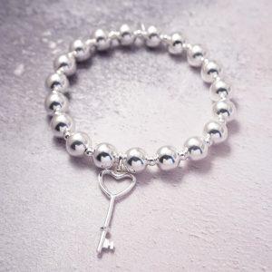 sterling silver chunky key bracelet