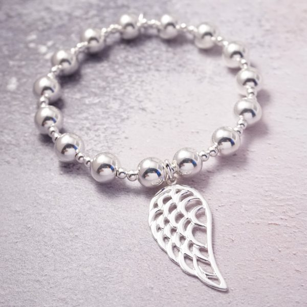 sterling silver chunky angel wing bracelet