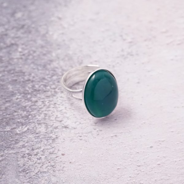 sterling silver green onyx agate ring