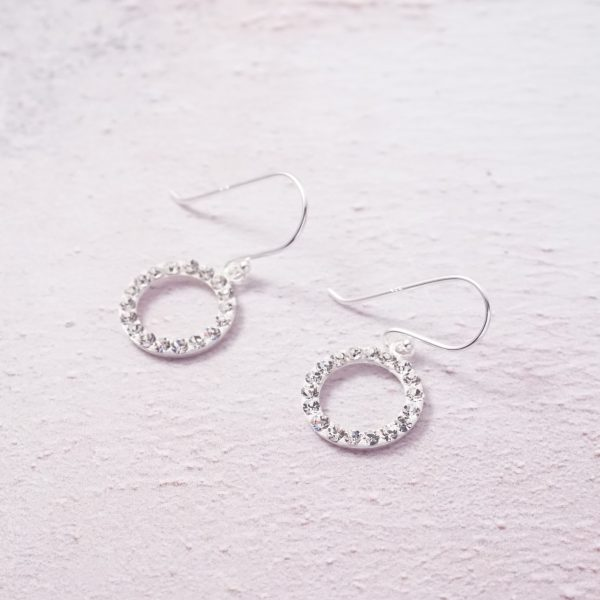 sterling silver crystal circle hook earrings