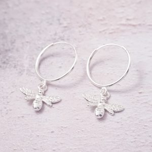 sterling silver bumble bee hoop earrings