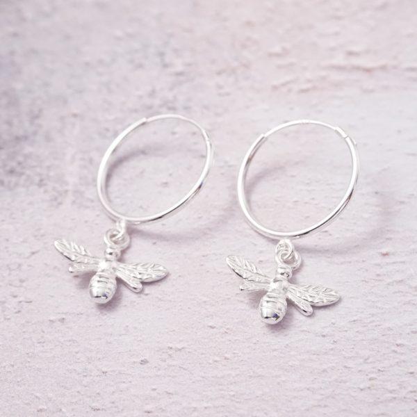 sterling silver bumble bee hoop earrings
