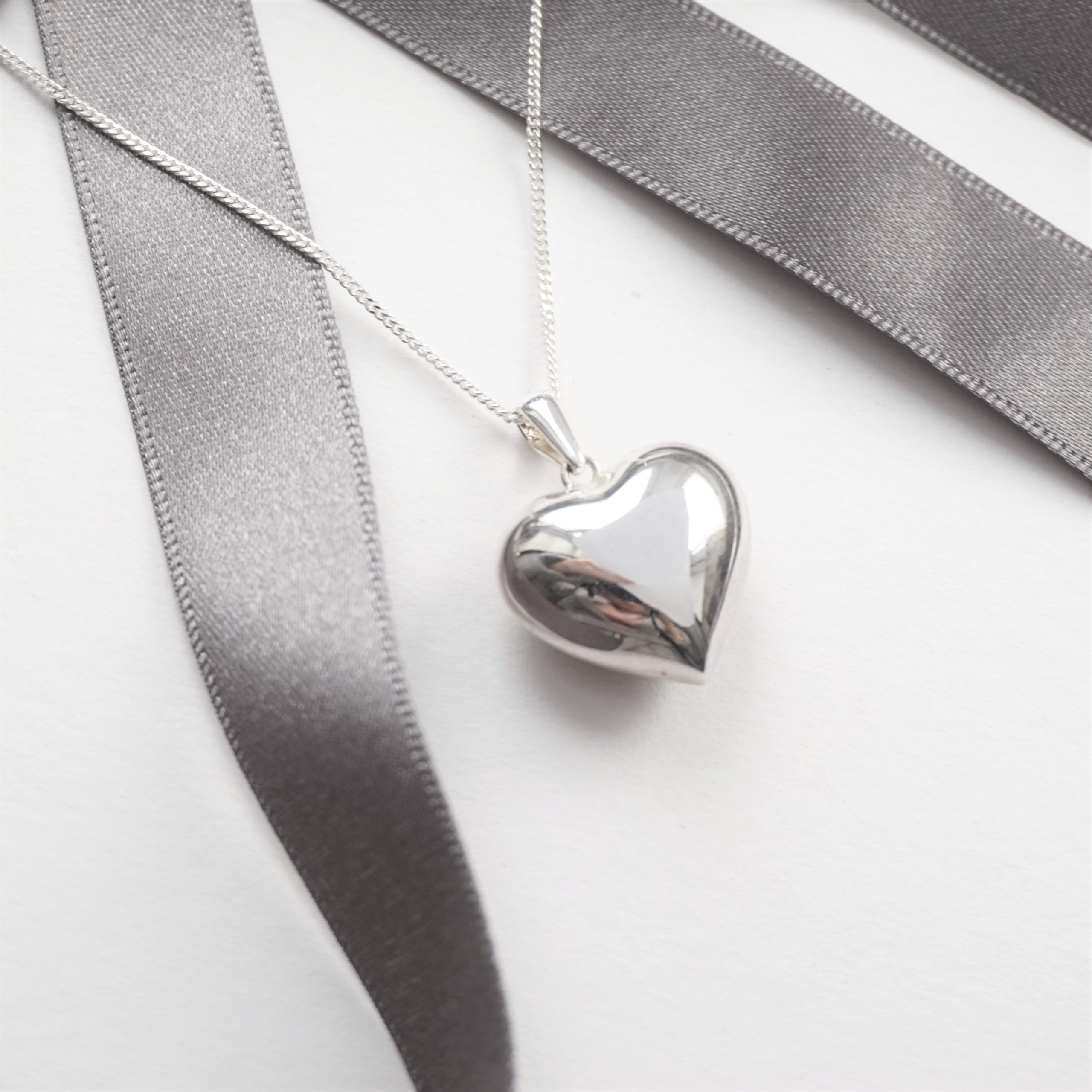 sterling silver necklace with chunky heart charm