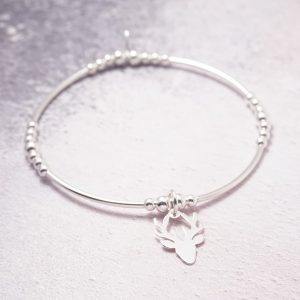 sterling silver stag noodle bracelet