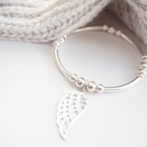 Sterling silver chunky noodle bracelet with angel wing