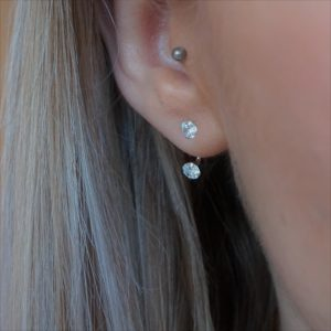 sterling silver cubic zirconia ear jacket
