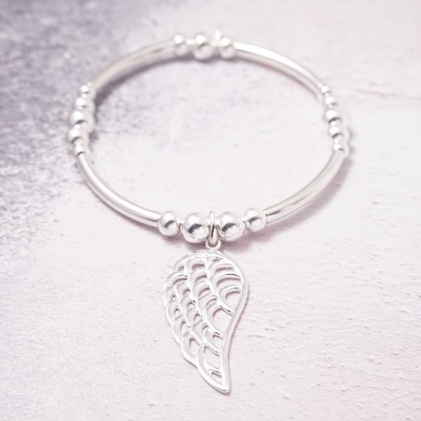 sterling silver angel wing noodle bracelet