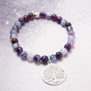 Sterling silver agate tree of life bracelet
