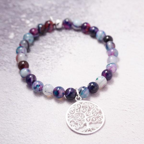 Sterling silver agate tree of life bracelet