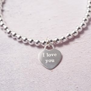 Sterling Silver i love you bracelet