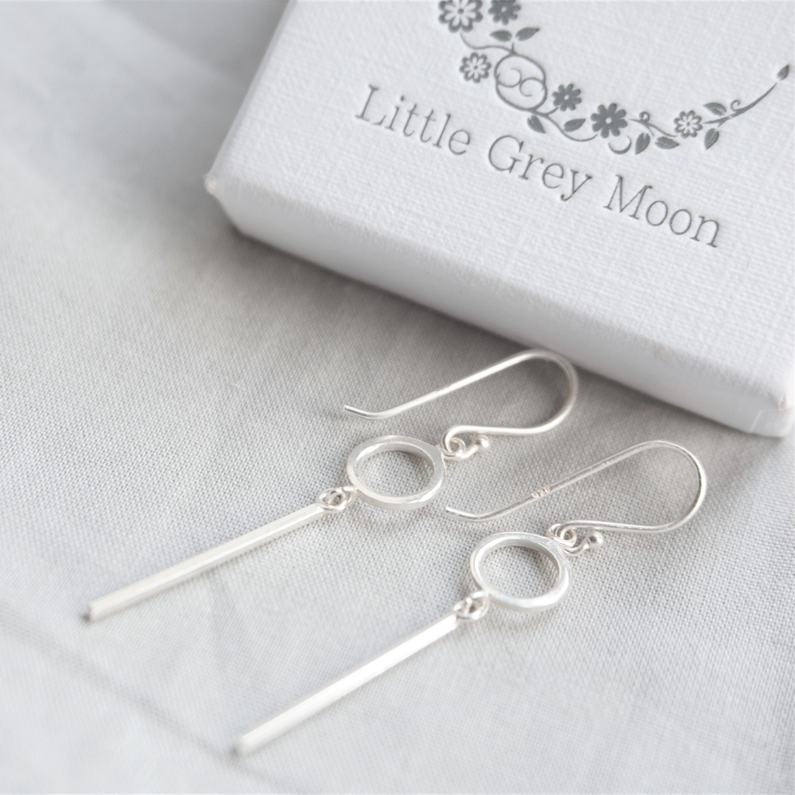 sterling silver geometric hook earrings