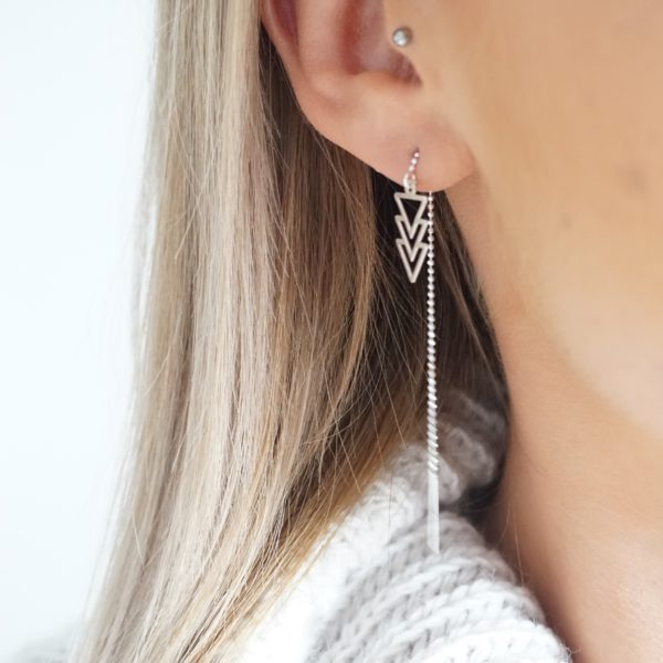 Sterling silver threader earrings with triple triangle charms