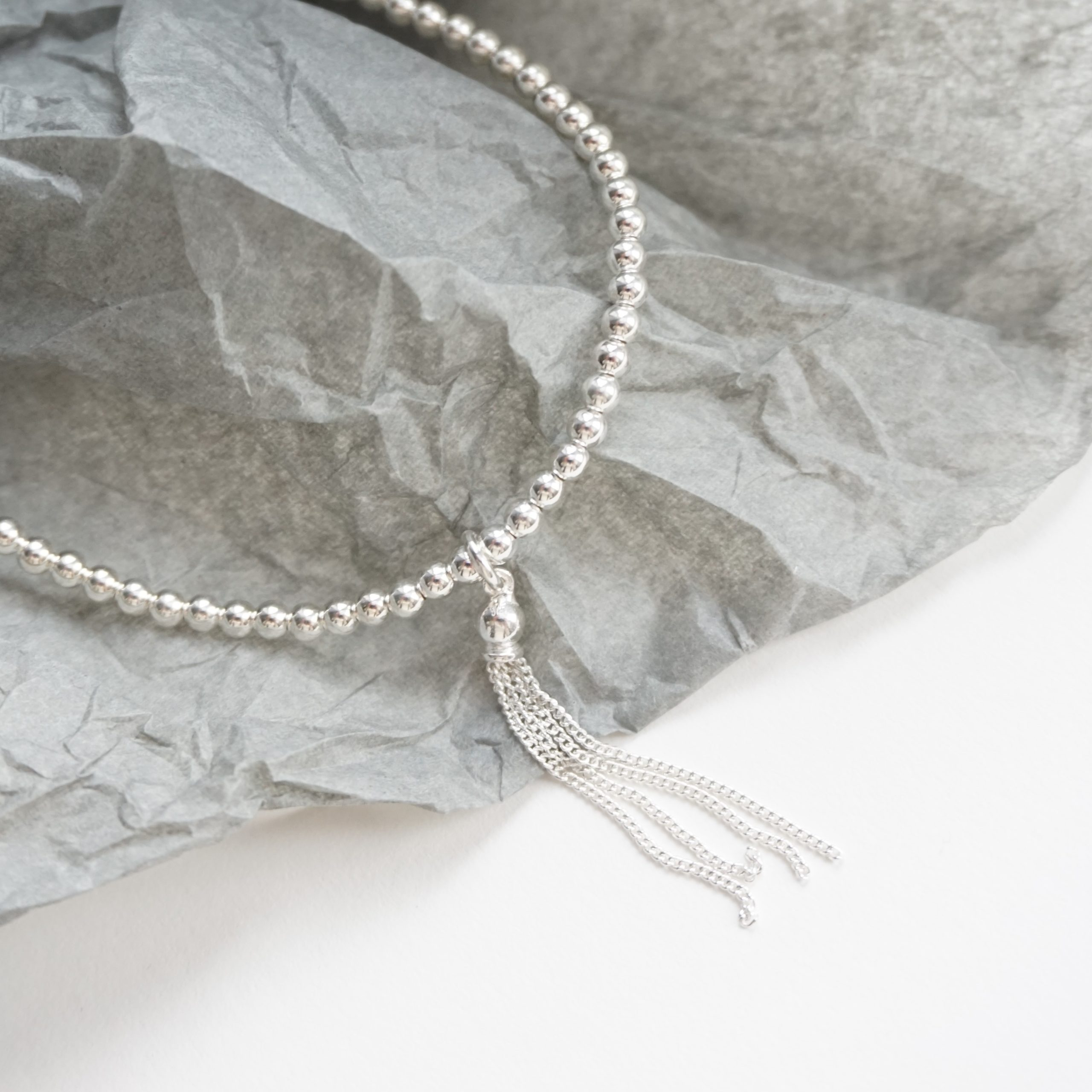 sterling silver anklet with tassel charm