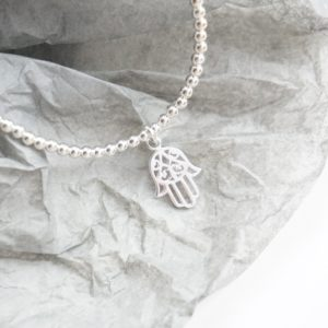 Sterling silver anklet with hamsa hand charm