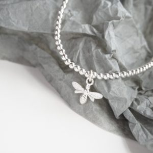 sterling silver anklet with bumble bee charm