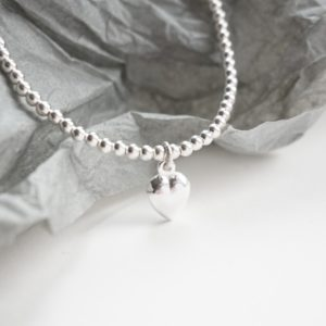 sterling silver anklet with heart charm