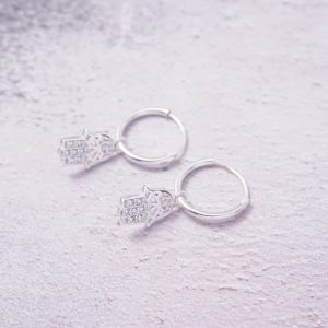 Sterling Silver Hamsa Hoop Earrings with Cubic Zirconia Stones