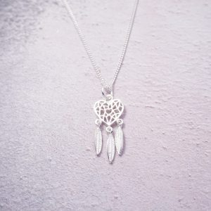 Sterling Silver Necklace with Heart Dreamcatcher Charm