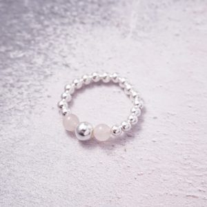 Sterling Silver Stretch Ring with Rose Quartz Beads