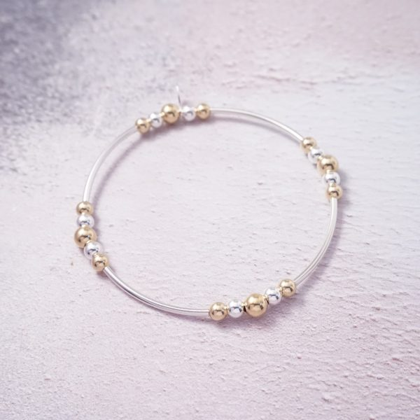 Sterling Silver and Gold Stretch Noodle Bracelet