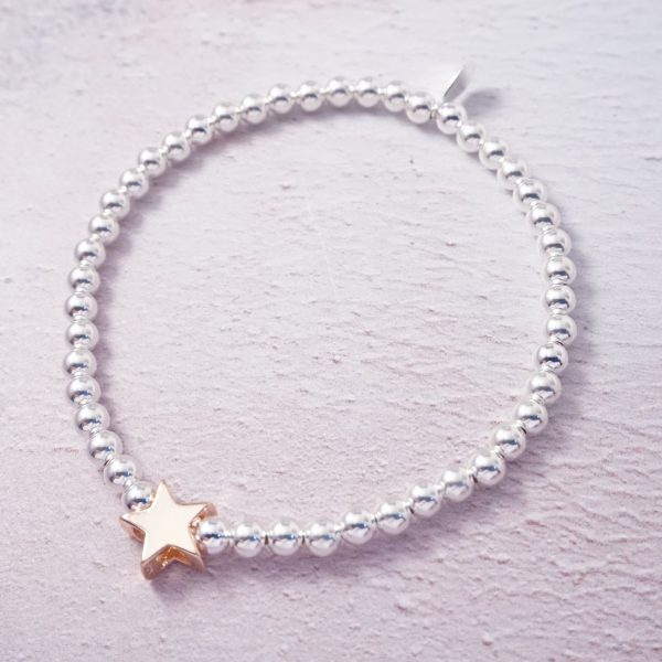 Sterling Silver Stretch Bracelet with Rose Gold Star Bead