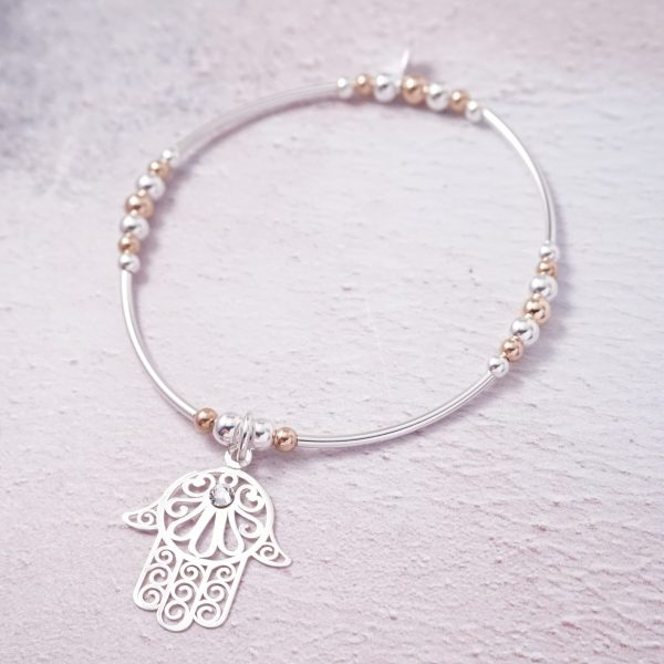 Sterling Silver and Rose Gold Stretch Noodle Bracelet with Large Hamsa Hand Charm