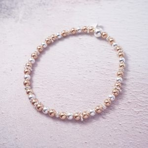 Sterling Silver and Rose Gold Stretch Stack Bracelet