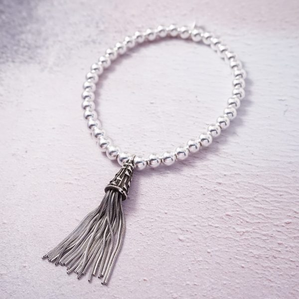 Sterling Silver Stretch Bracelet with Long Tassel Charm