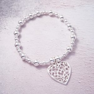 Sterling Silver Stretch Bracelet with Filigree Heart Charm