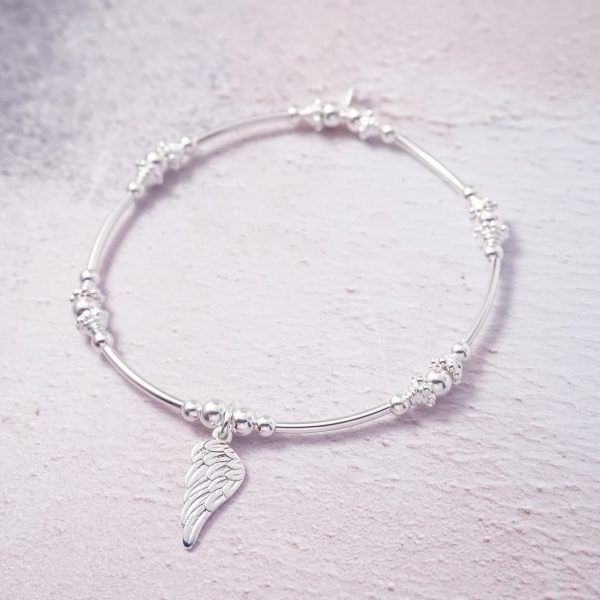 Sterling Silver Stretch Noodle Bracelet with Angel Wing Charm
