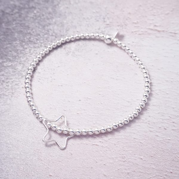 Sterling Silver Stretch Bracelet with Open Star