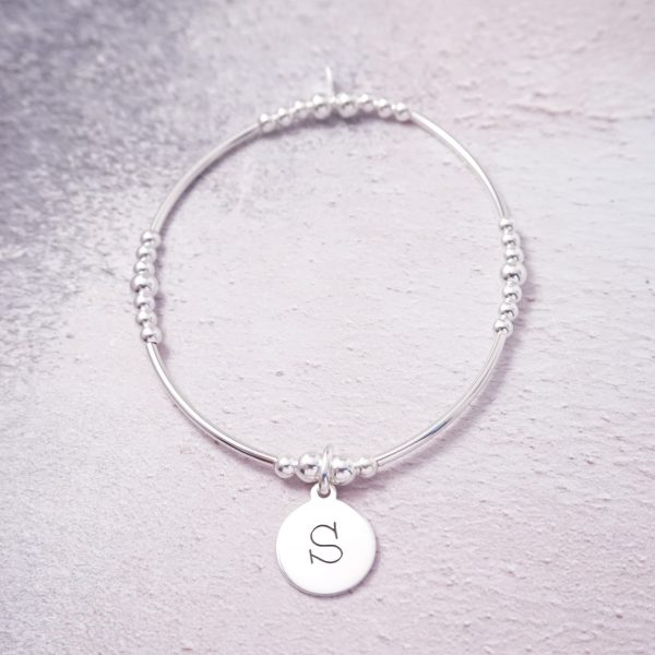 Sterling Silver Stretch Noodle Bracelet with Lowercase Initial Charm