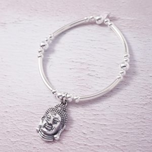 Sterling Silver Chunky Noodle Bracelet with Buddha Charm