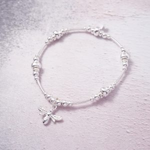 Sterling Silver New Noodle Bracelet with Bumble Bee Charm