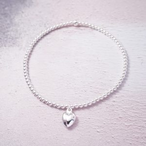 Sterling Silver Stretch Anklet with Heart Charm