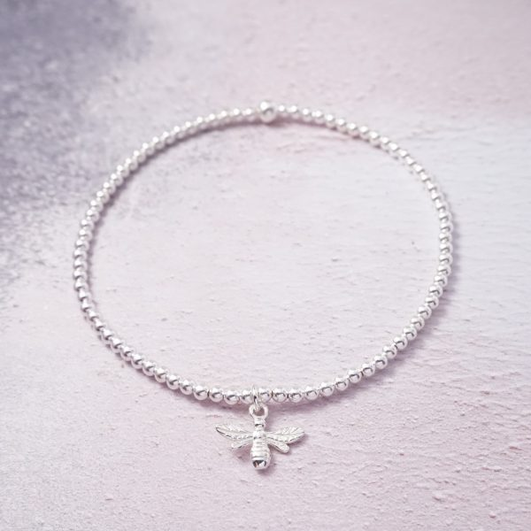 Sterling Silver Stretch Anklet with Bumble Bee Charm
