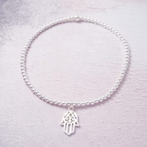 Sterling Silver Stretch Anklet with Hamsa Hand Charm