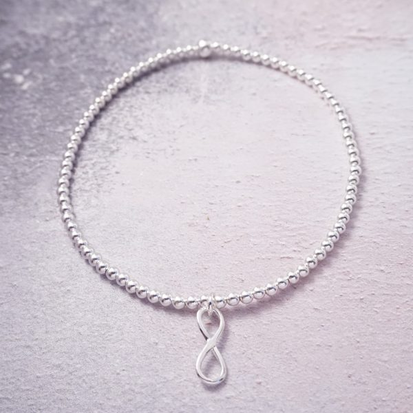 Sterling Silver Stretch Anklet with Infinity Charm
